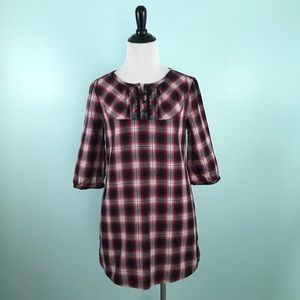 Mossimo Supply Co Small Tunic Top Red Black Plaid